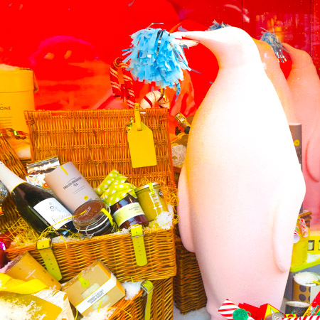 Penguins in a Christmas window on Oxford Street 2016