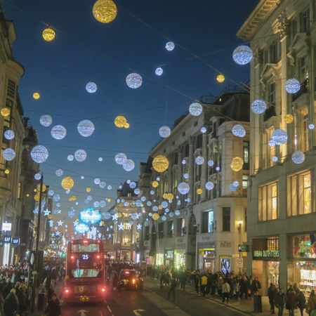Christmas decorations on Oxford Street 2016