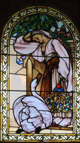 This stained glass window at Craigdarroch Castle in Victoria BC is a bit of a mystery. It's based on a well-known painting, The Odalisque, by Sir Frederic Leighton. | Jill Browne photo