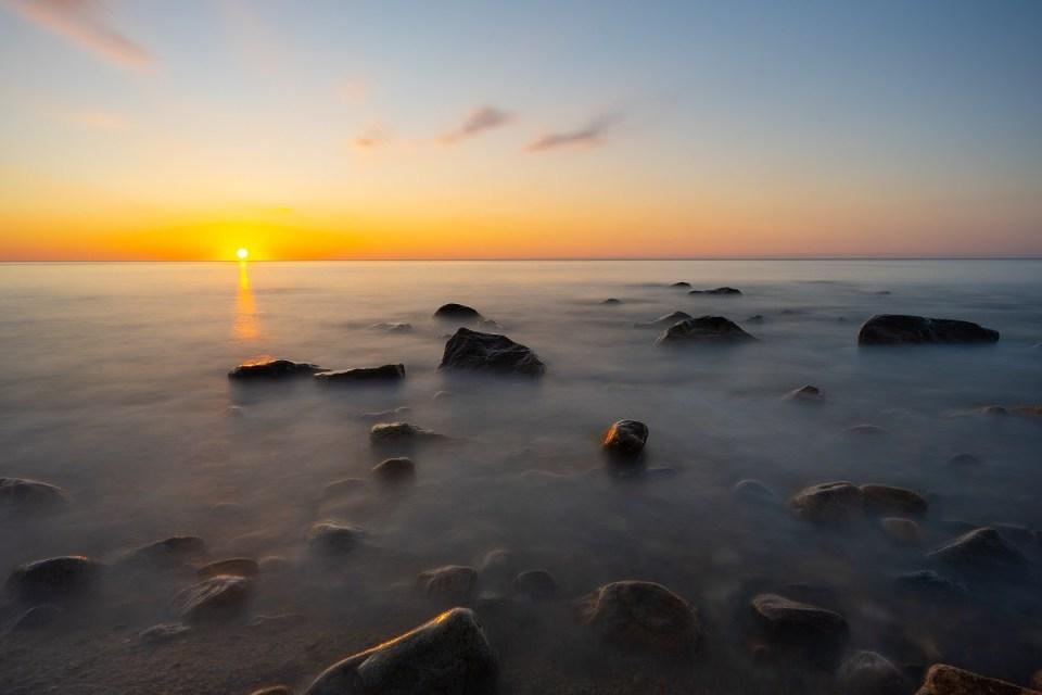 Rocky shoreline sunrise at Montauk New York