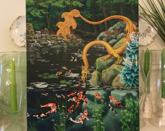 Photo of Painting - Eastern Forest Dragon & Koi Pond