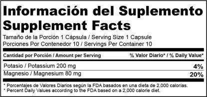 Etiqueta Nutricional MouK ESSENTIALS. Magnesio y Potasio.