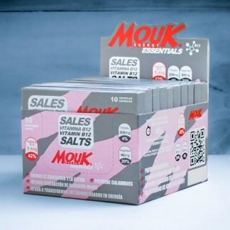 Caja 10 Blister MouK ESSENTIALS B12. Magnesio, Potasio, Vitamina B12.