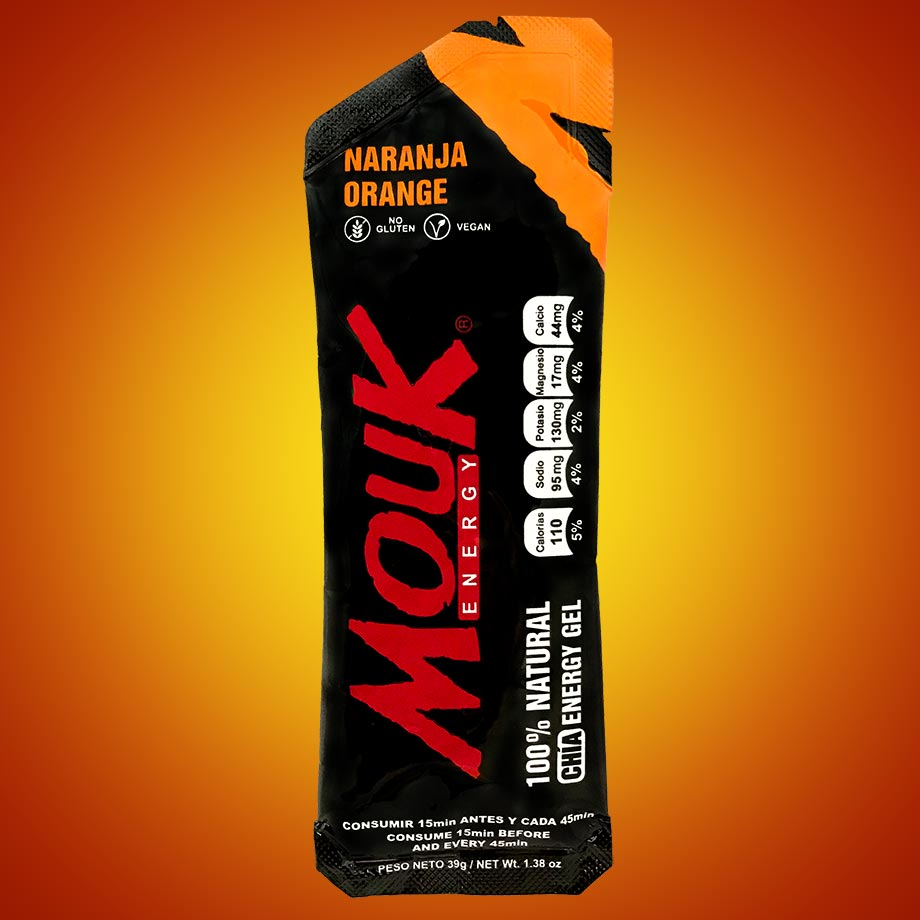 Gel Energético Natural MouK ENERGY Sabor Naranja.