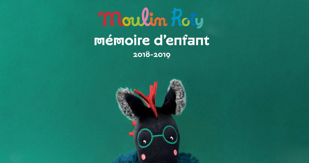 memoire d'enfant - green banner with lucien the horse featured and the moulin roty logo
