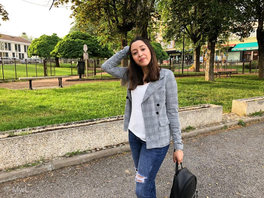 Blazer à Carreaux – Casual et Chic