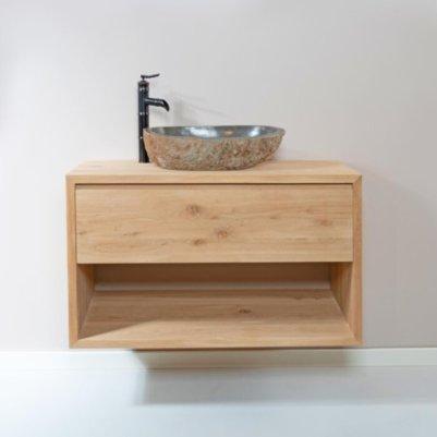 Zwevend houten badkamer meubel