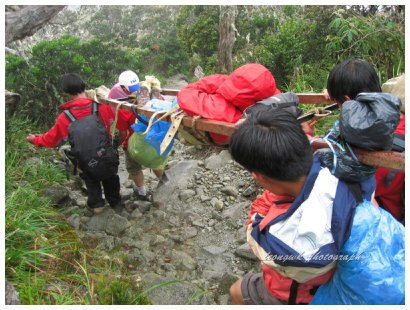 Porters carrying an injured climber