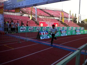 Dany crossing the finishing line