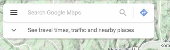 screenshot of google maps menu