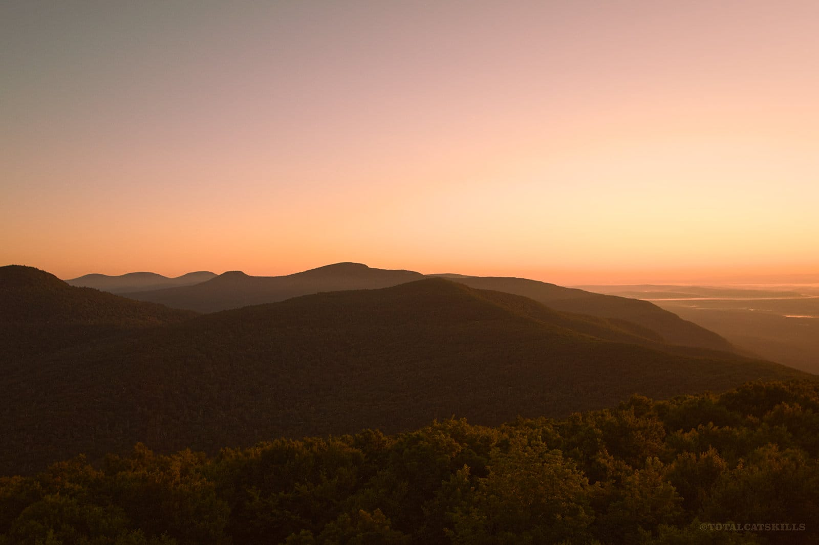 pre-dawn mountain ridges