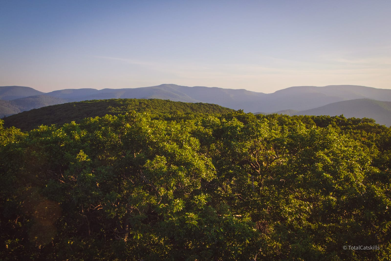 mountain ridges in distance