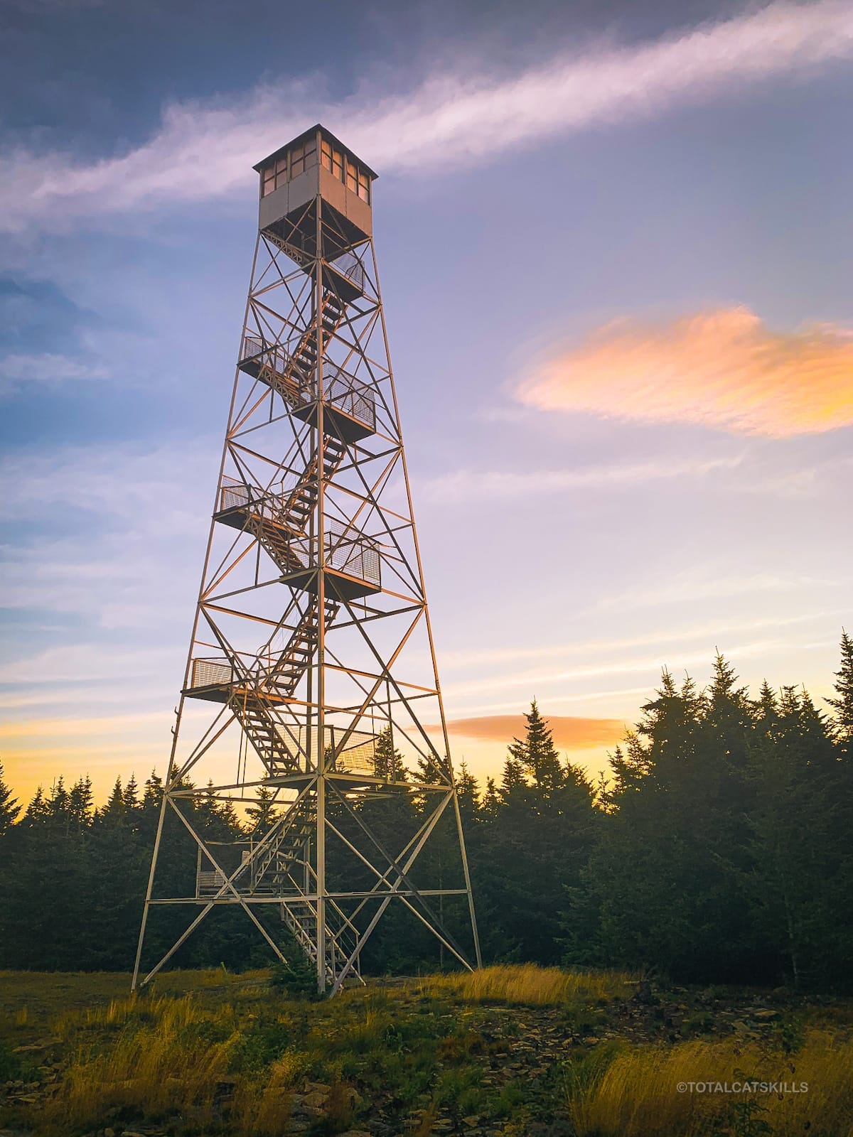fire tower at dawn