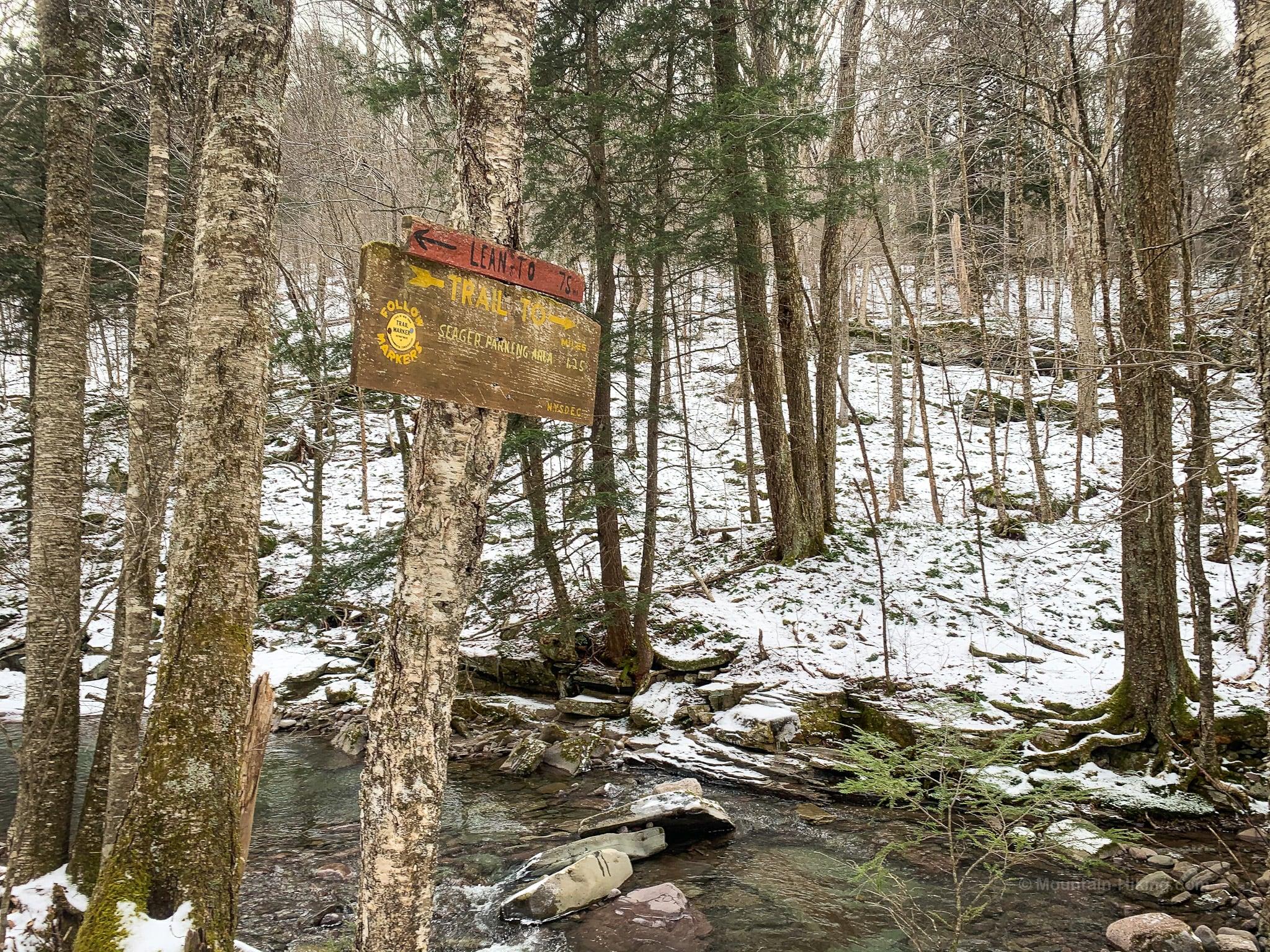 trail signpost beside stream