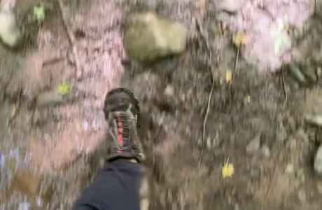 one leg and foot in mud