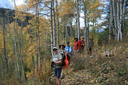 A group hiking in September