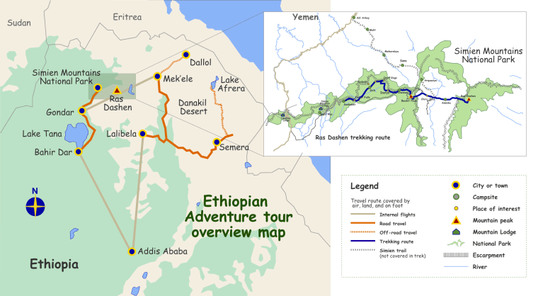 Ethiopian adventure and walking routes map