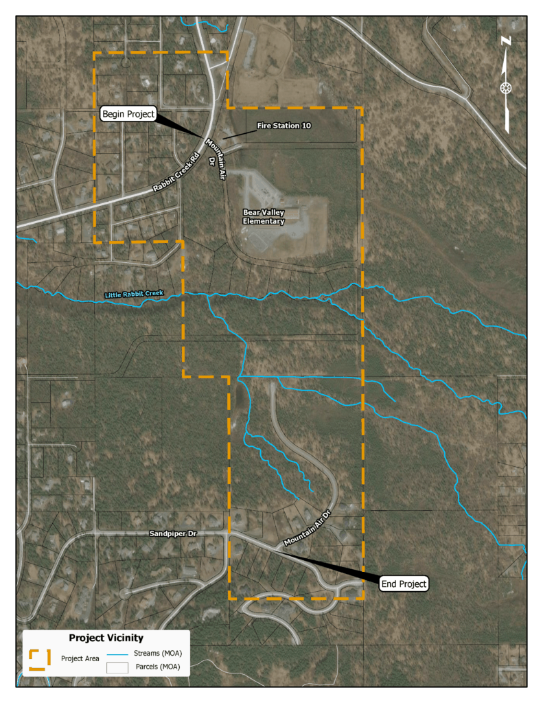 A map showing the project area near Rabbit Creek Road, Bear Valley Elementary, and Mountain Air Drive.