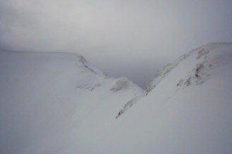 The crest of the northwest ridge (snow clouds closing in)