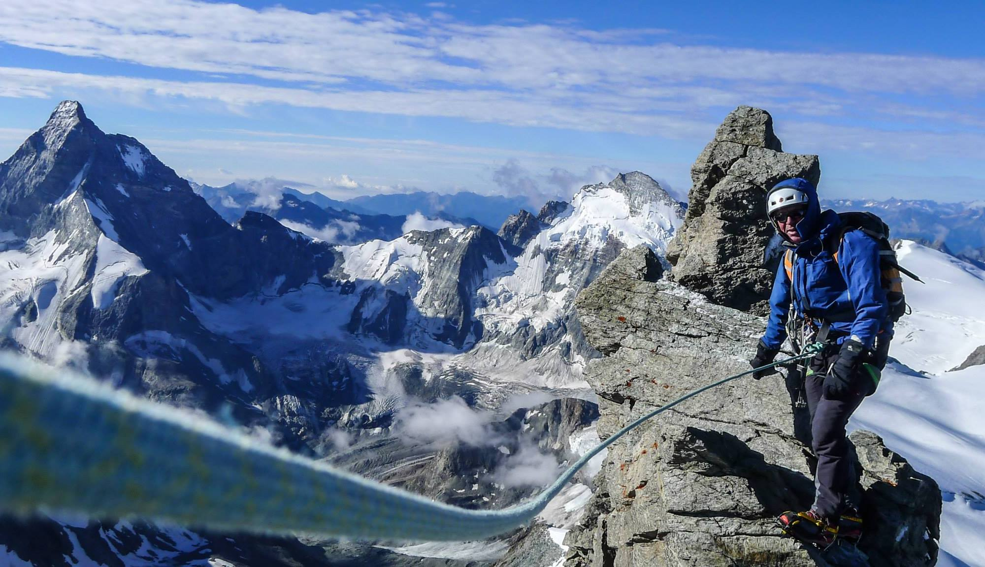 Assured Experiences - Peter Foster on the South Ridge of the Dent Blanche