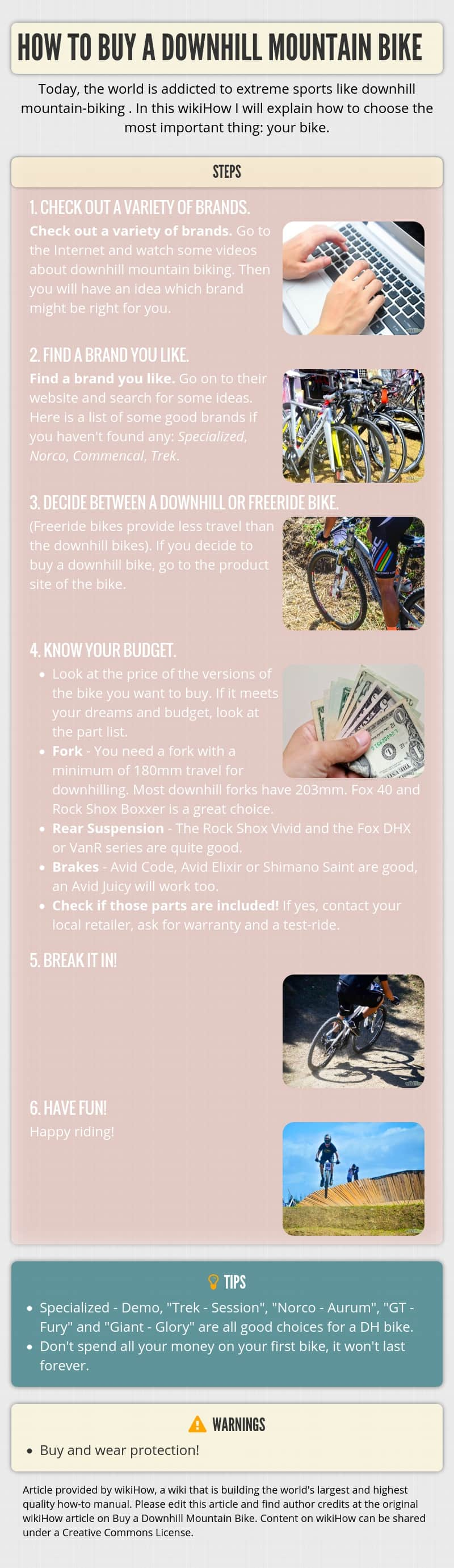Infographic HOW TO BUY A DOWNHILL MOUNTAIN BIKE