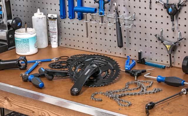 chainring on workshop table