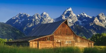 7087099 - the moulton barn and the teton mountain range in grand teton national park, wyoming.