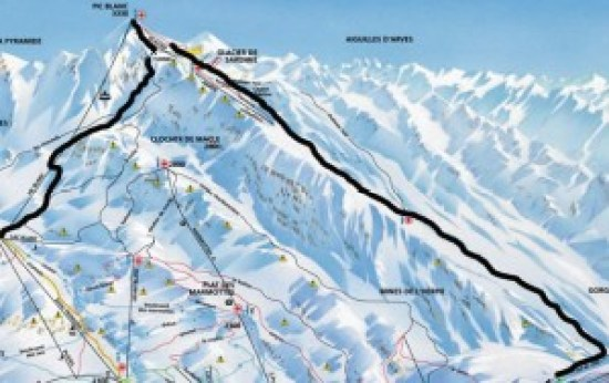 Piste map showing Pic Blanc and Sarenne Glacier Runs