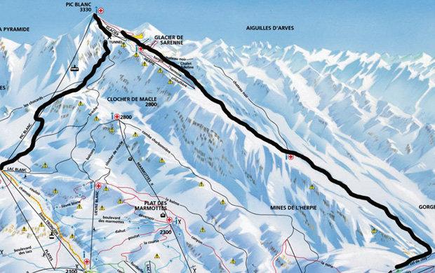Piste map showing Pic Blanc and Sarenne Glacier Runs - Chalet ...