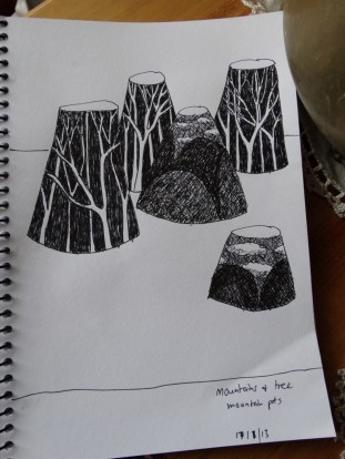 mountain & tree pots