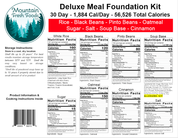 Nutritional Information for 30 day Deluxe Meal Foundation Kit
