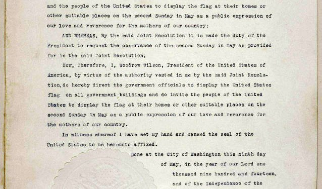 President Woodrow Wilson's Proclaimed The First Official US Mother's On May 9, 1914