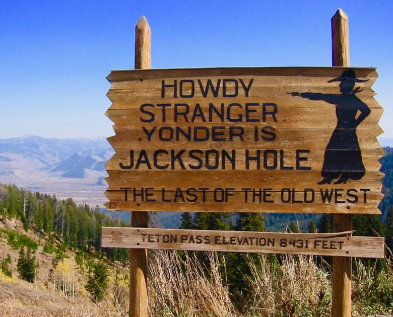 The sign on Teton Pass marking the descent into Jackson Hole. Once upon a time spectucular scenery and wildlife-watching opportunities found in few other places in the world provided all the adrenaline a person needed.