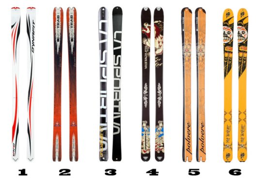 Dynafit Dy.N.A., SkiTrab Freerando Light, LaSportiva RST, Dynafit Mustagh Ata Superlight, SkiTrab Polvere, K2 Mt Baker Superlight