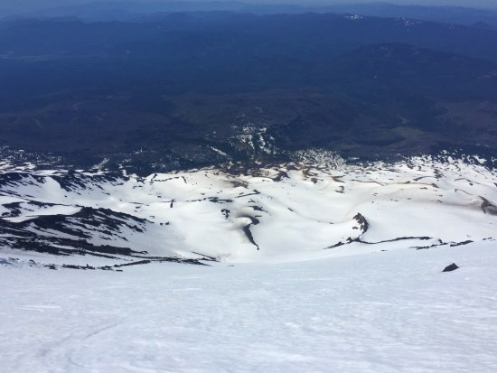 A foreshortened view down Mt Adams' Southwest Chutes
