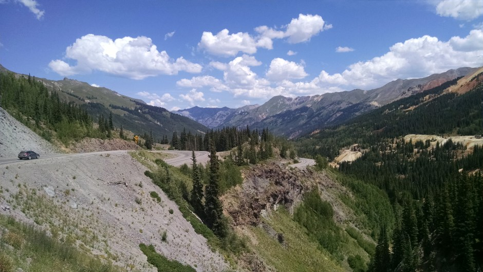 Million Dollar Highway serpentines down 4000 feet from Red Mountain Pass to Ouray