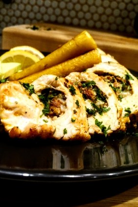 Chicken breast stuffed with chorizo, cheese and jalapenos