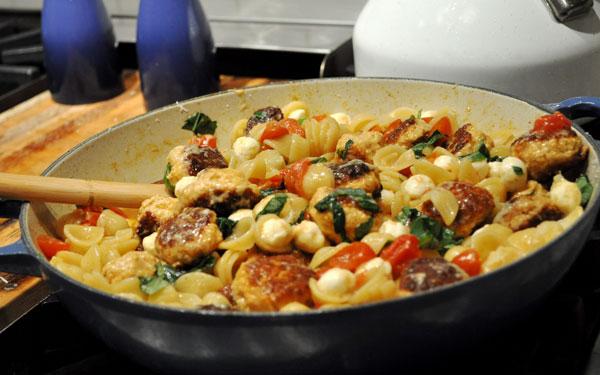 mini-chicken-meatball-pasta-dish