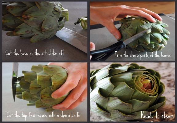 Preparing artichoke to steam