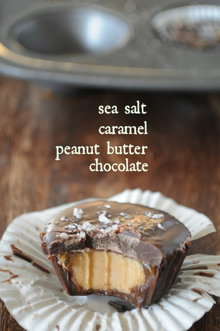 Salted Chocolate Peanut Butter Cups with Caramel, Mountain Mama Cooks
