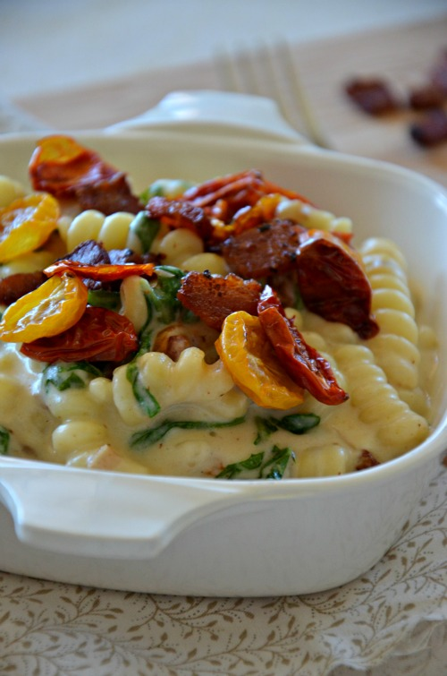 quick BLT mac & cheese recipe, www.mountainmamacooks.com