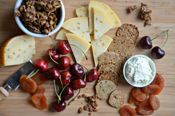 Wisconsin Cheese Plate with Chai Granola and Fruit, www.mountainmamacooks.com