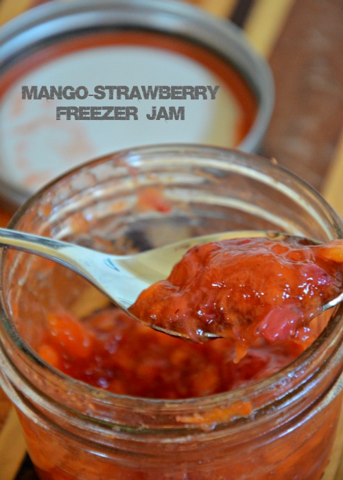 mango-strawberry freezer jam, www.mountainmamacooks.com