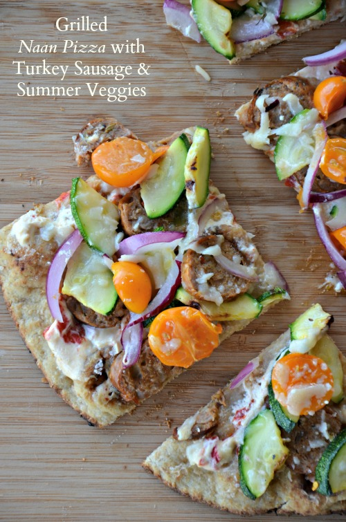 Grilled Naan Pizza with Turkey Sausage and Summer Veggies