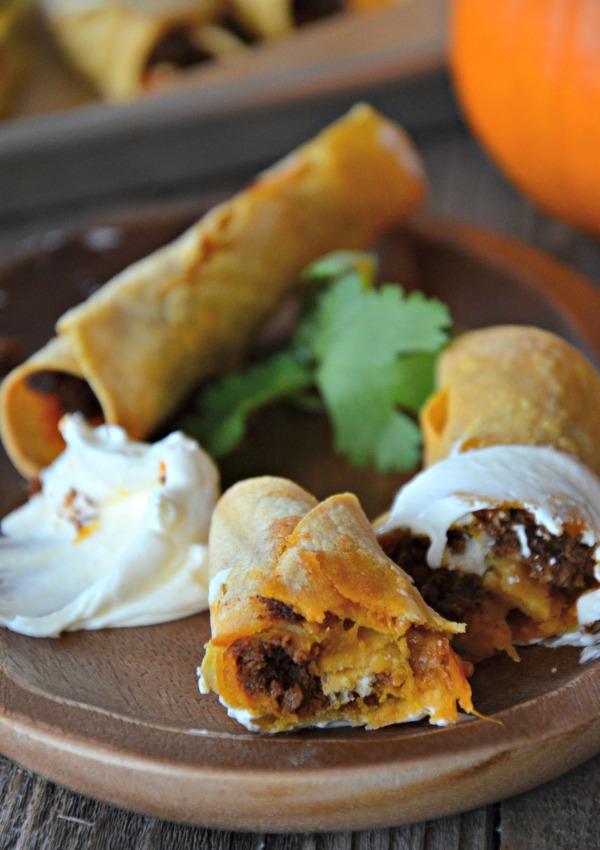 Pumpkin & Chorizo Baked Taquitos   mountainmamacooks.com