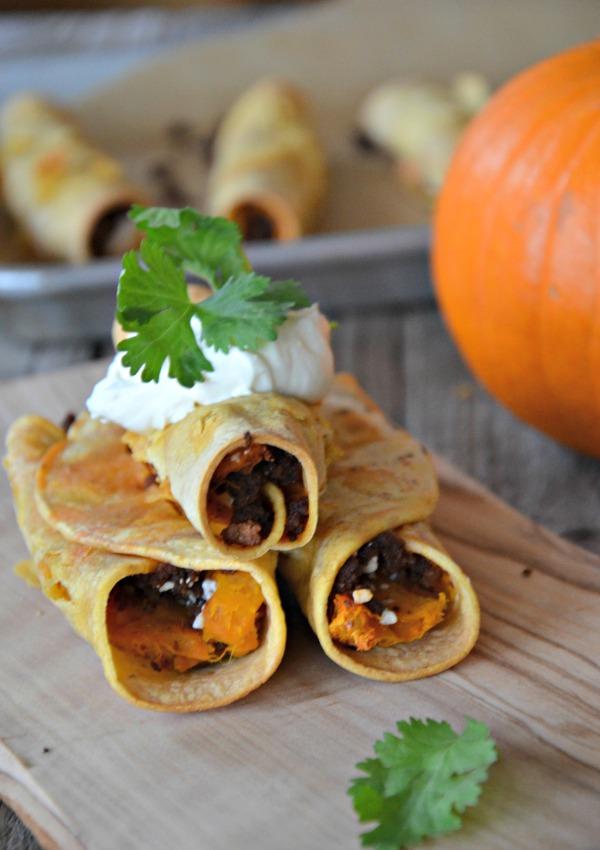 Pumpkin & Chorizo Baked Taquitos | mountainmamacooks.com