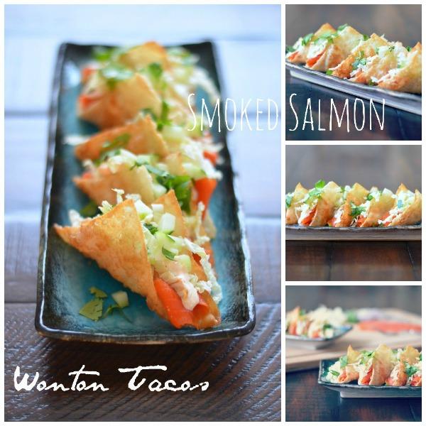 Smoked Salmon Wonton Tacos, mountainmamacooks.com