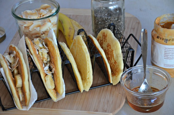 Peanut Butter & Honey Pancake Tacos with Banana, www.mountainmamacooks.com