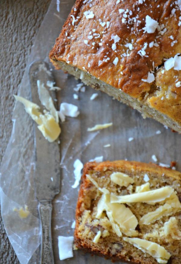 Gluten Free Coconut Banana Bread with Walnuts, www.mountainmamacooks.com