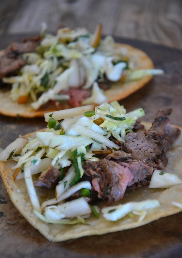 Korean Flank Steak Tacos with Asian Pear Slaw | mountainmamacooks.com